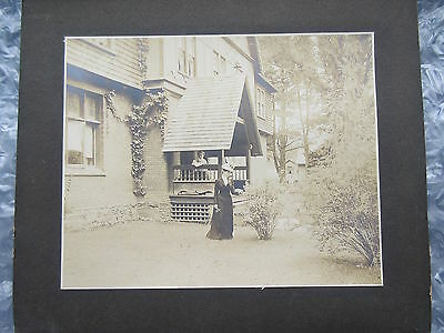 Antique Cabinet Photo Lady in Dress Standing in Front of House