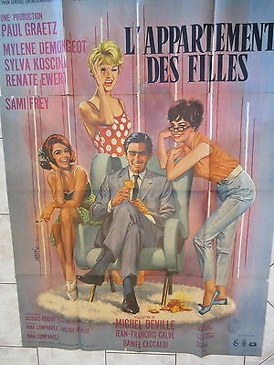 Old Large 1963 French Movie Poster L'appartment des Filles
