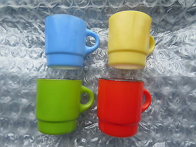 Set of 4 Old Retro Fire King Milk Glass Coffee Mugs Primary Colors C Handle
