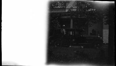 Old b/w photo negative MAN BY 4 DOOR AUTOMOBILE CAR 1920'S?