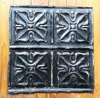 "1890's Reclaimed  metal 12"" x 12"" Antique Tin Ceiling Tile Black TR32"