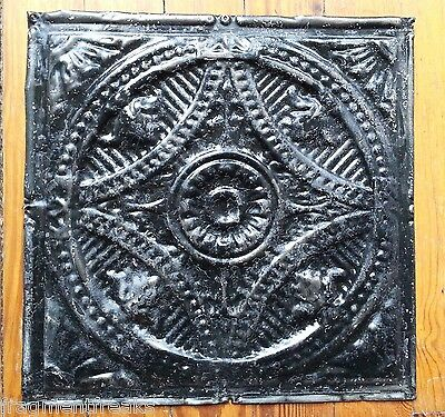 "12"" x 12"" Antique Tin Ceiling Tile *SEE OUR SALVAGE VIDEOS Black TR34"