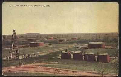Postcard Tulsa Ok/oklahoma Glen Pool Oil Field Storage Tanks Birdu0027s Eye 1907