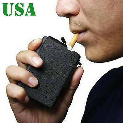 2 in 1 Cigarette Case & Lighter Auto Ejection Butane Windproof Flame Box Holder
