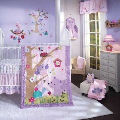L&I Mystic Forest BABY COT (Jnr Bed) SHEETS,COMFORTER,BLANKET NAPPY NEW pink owl