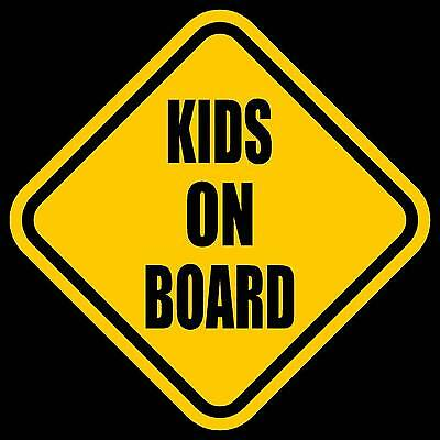 "KIDS ON BOARD Window Decal/Sticker Yellow 5.5""H"