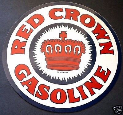 "RED CROWN GASOLINE Authentic Genuine Older Vintage 10.25"" Decal Sitcker"