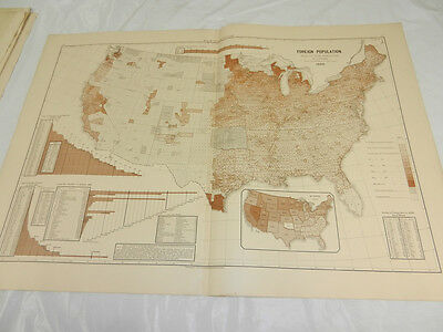 1888 Antique Political Map/FOREIGN POPULATION RATIO TO TOTAL, UNITED STATES 1880