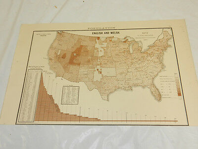 1888 Political Map/ENGLISH & WELSH RATIO TO TOTAL POPULATION, UNITED STATES 1880