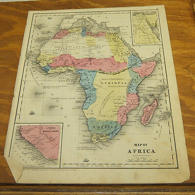 1853 Antique COLOR Smith Map  ///  AFRICA