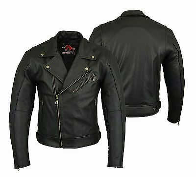 Men's Motorbike Leather Jacket Motorcycle Chopper Jacket Protection Armour CE