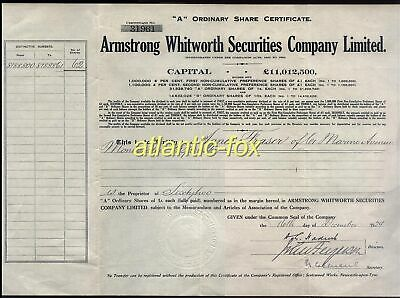 1929 ARMSTRONG WHITWORTH co SHARE CERTIFICATE of 65 1/- Shares