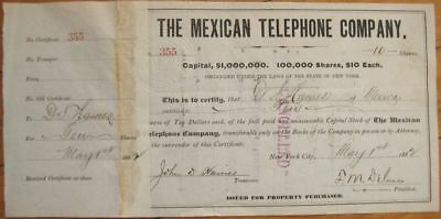 1880's Stock Certificate: The Mexican Telephone Company