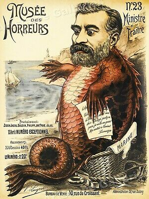 """1899 """"Musee des Horreurs Fish Man"""" Vintage Style Sea Serpent Poster - 18x24"""