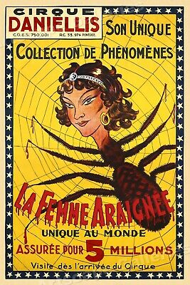 1920s Spider Woman Freak Vintage Style Unusual Circus Poster - 24x36