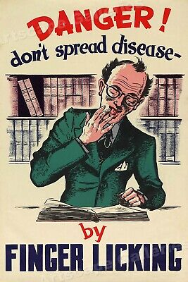 Unusual 1950s Vintage Health Poster - Disease Spreads by Finger Licking! 16x24