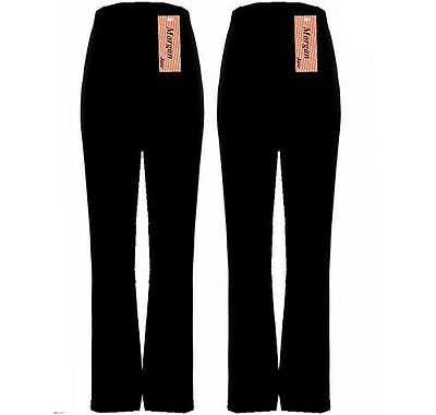 LADIES WOMENS PACK OF 2 FINELY RIBBED BOOTLEG STRETCH TROUSERS 10-26 BLACK mpbj