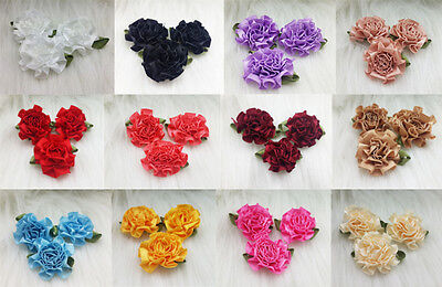 12-120pcs DIY satin ribbon Carnation Flower Appliques/craft/Wedding decoration