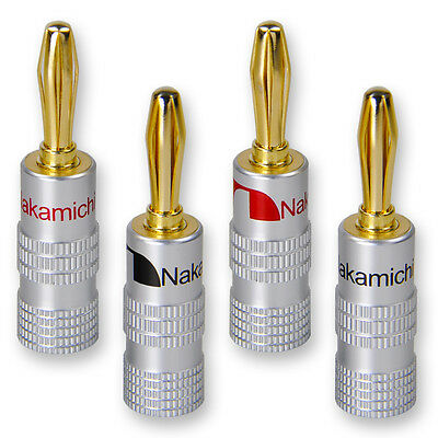 8 x Nakamichi High End Bananenstecker Bananas 24K vergoldet für Kabel bis 6mm²