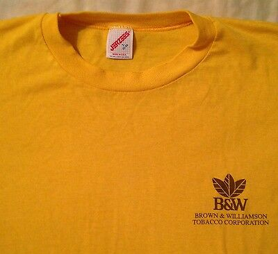 vintage BROWN & WILLIAMSON TOBACCO WORK T-SHIRT ADULT LARGE~42-44~YELLOW S/S WOW