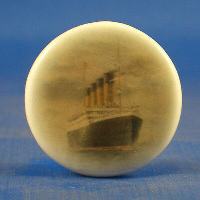 """1""""  Porcelain China  Button --  Rms Olympic White Star Line"""