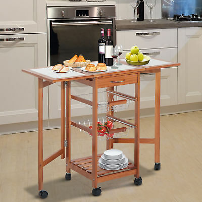 HOMCOM 4 Tier Rolling Kitchen Trolley Cart with Storage Drawer Rack Basket Wood