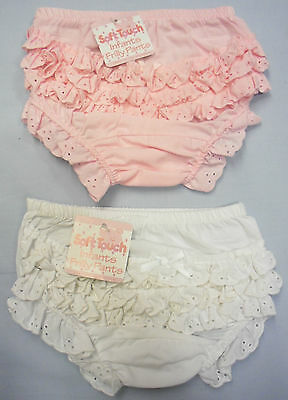 Baby Babies Clothes Girls Frilly Cotton Pants Pink White Wedding Christening