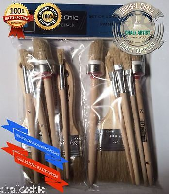 #MS12 - SET 12 BRUSHES designed for CHALK bsd PAINT SHABBY CHIC paints and wax