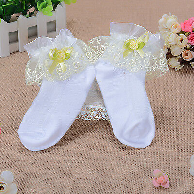 New 1 Pair of Yellow Lace Frilly Christening Socks 6-8 Years