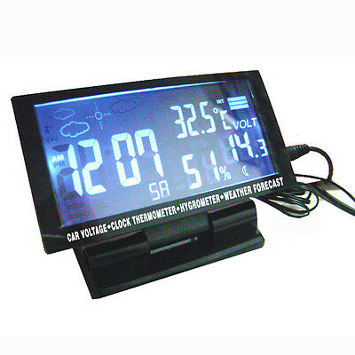 Auto Voltage Monitor LCD Digital Car F/C Thermometer Hygrometer Weather Forecast