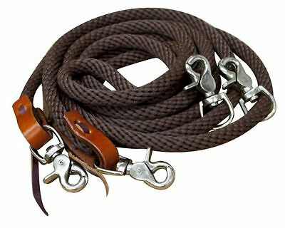 English Or Wesern Saddle Horse Braided Brown Nylon Draw Reins For Training Horse