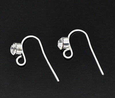 25 Pairs SP Rhinestone Ear Wire Hooks with Loop 18x10mm