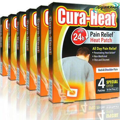 6x Cura Heat Pads Back & Shoulder Pain 4 Heat Packs 24 Hour Warming Relief