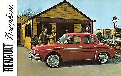 Renault Dauphine in Red Car Advertising Vintage Postcard (J35080)