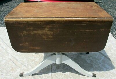 Vintage / Antique Solid Wood Drop Leaf Table with Metal Claw Feet