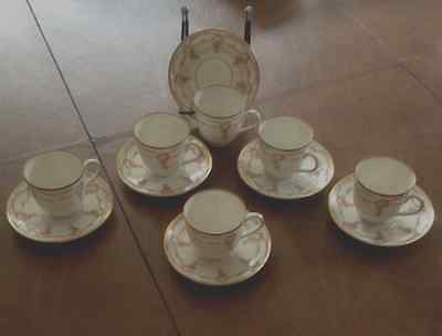 Antique MZ Austria Antique Chocolate / Demitasse 6 Cups & 6 Saucers Circa 1900