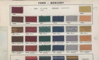 1978 Ford Mercury Lincoln ORIGINAL Interior Upholstery Sample Page us0197