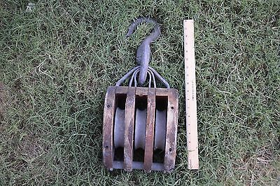Antique Architectural Cast Iron Wood Barn Triple Block Pulley Tackle Hook