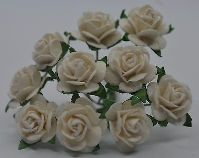 50 WHITE ROSE (1.5cm) Mulberry Paper Flowers for weddings crafts cardmaking