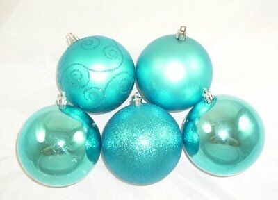 Pack of 5 100mm Turquoise Baubles - Christmas Tree Decorations (BA1005TQ)
