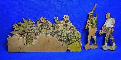 3 Vintage German Wood Fretwork Soldier Motive WW II World War 2 #J13