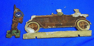 Vintage German Wood Fretwork 1 Soldier with Car Motive WW II World War 2 #J12