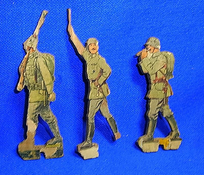 Vintage German Wood Fretwork 3 Different Soldiers Motive WW II World War 2 #J9