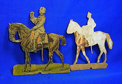 Vintage German Wood Fretwork Soldier with Horses Motive WW II World War 2 #J5