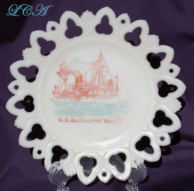 Rare Antique plate U. S. BATTLESHIP MAINE milk-glass souvenir w/pic of SHIP