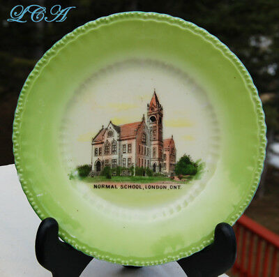 COLORFUL antique LONDON ONTARIO plate w/pic of ancient old NORMAL SCHOOL