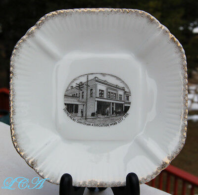 Square WEBB CITY MISSOURI antique plate LOWE FURNITURE Co w/pic of OLD YMCA bldg