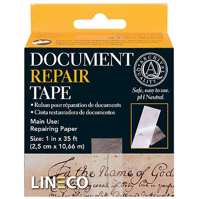 """Document Repair Tape, 1""""X35 Ft. Acid Free Thin but Strong! Transparent (bin 503)"""
