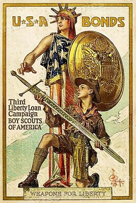 """1918 """"Boys Scouts"""" Be Prepared Sword Vintage Style Liberty War Poster - 16x24"""