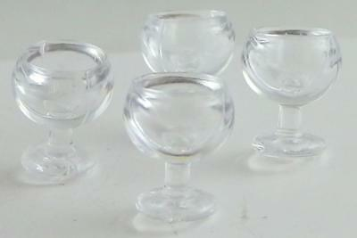 Dolls House Miniature 1:24 Scale Dining Room Accessory 4 Wine Glasses